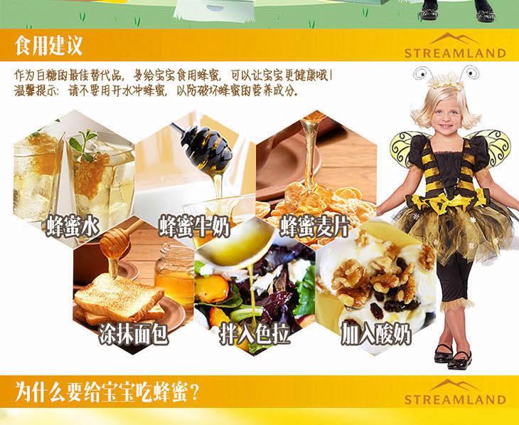 新西兰Streamland Kids Honey儿童蜂蜜润肠通便 500g食用建议