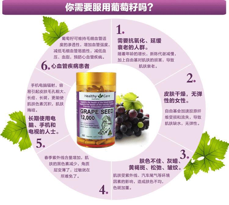 Healthy Care葡萄籽精华300粒 作用