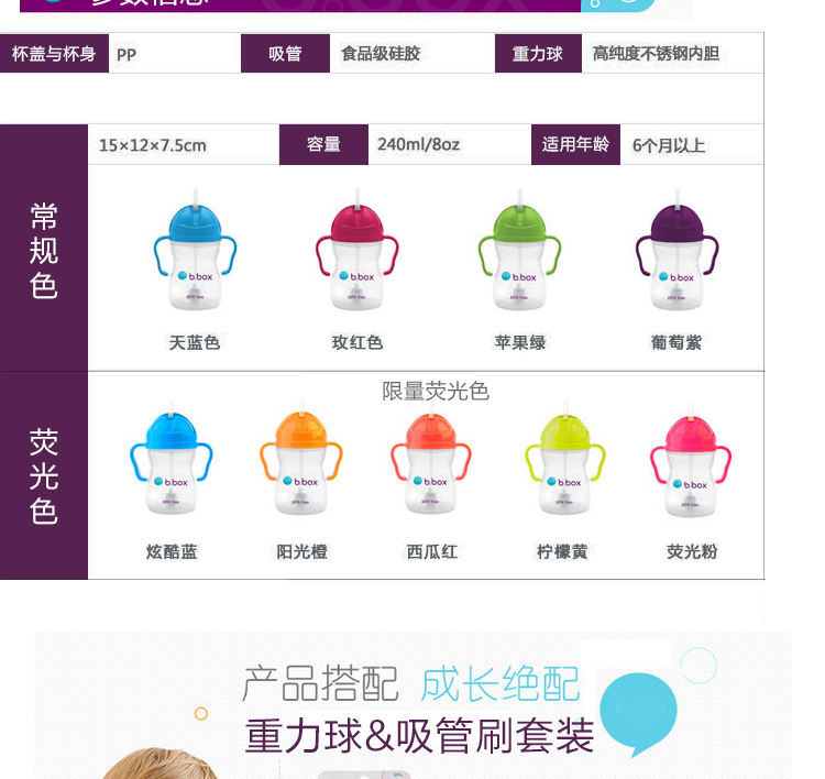 B.box澳洲儿童吸管杯 宝宝重力球饮水杯防漏带手柄 婴儿水杯学饮杯(颜色随机)产品参数