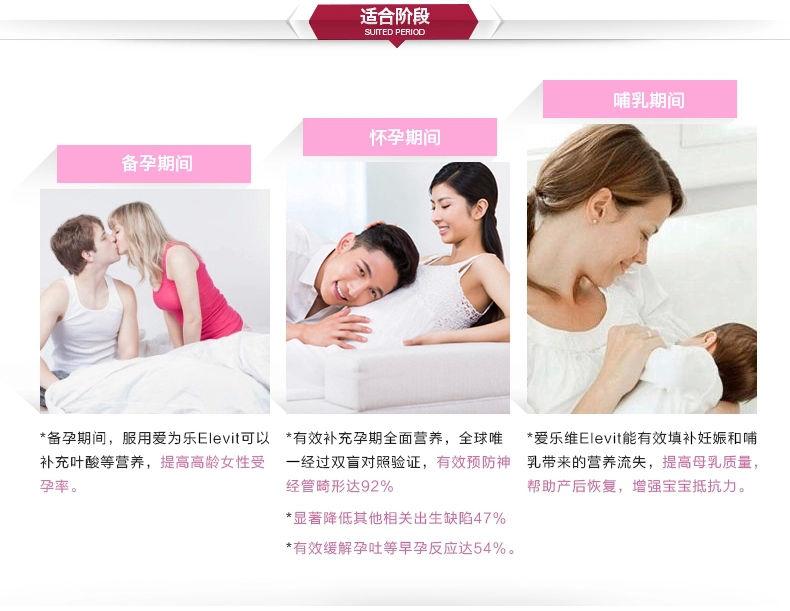 Elevit爱乐维孕妇营养片叶酸孕期维生素10 适合阶段