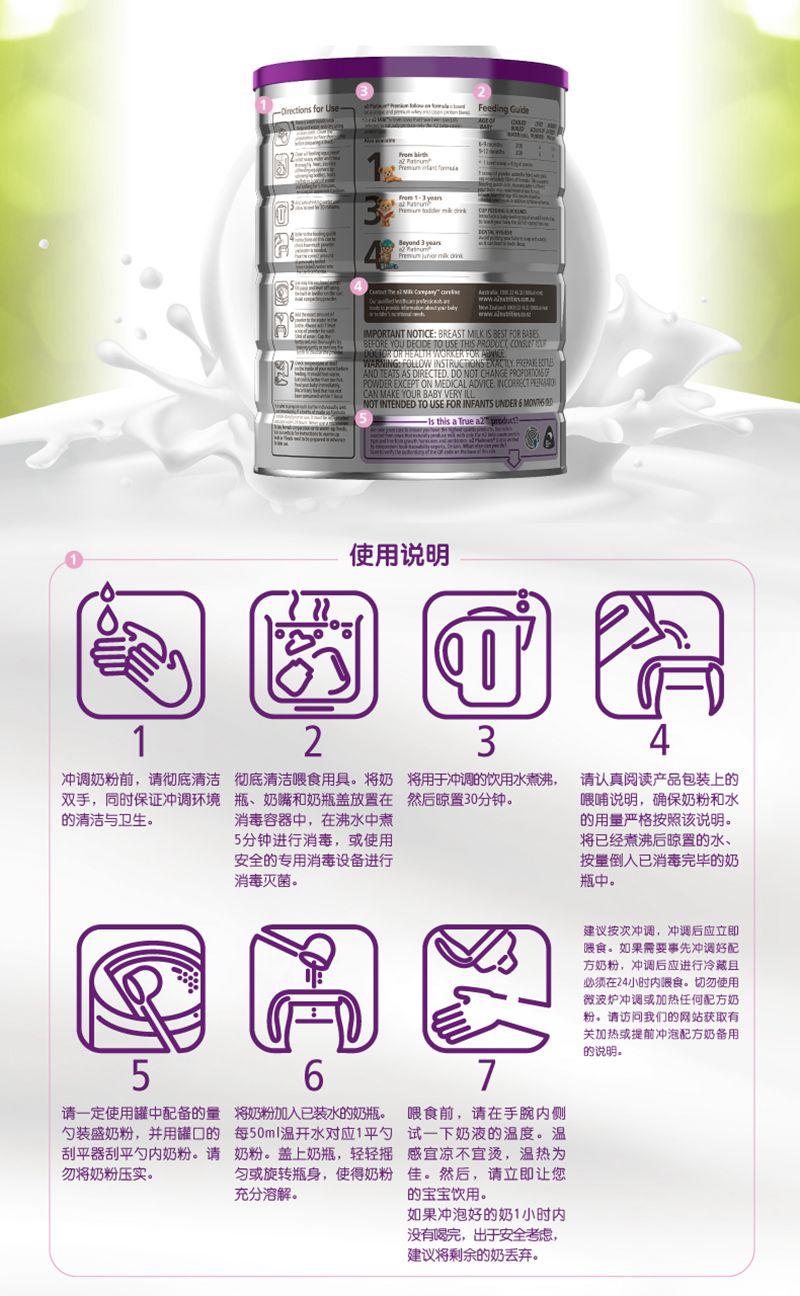 a2白金系列高端婴幼儿配方奶粉二段(新版)(3罐6罐价更优) 方法