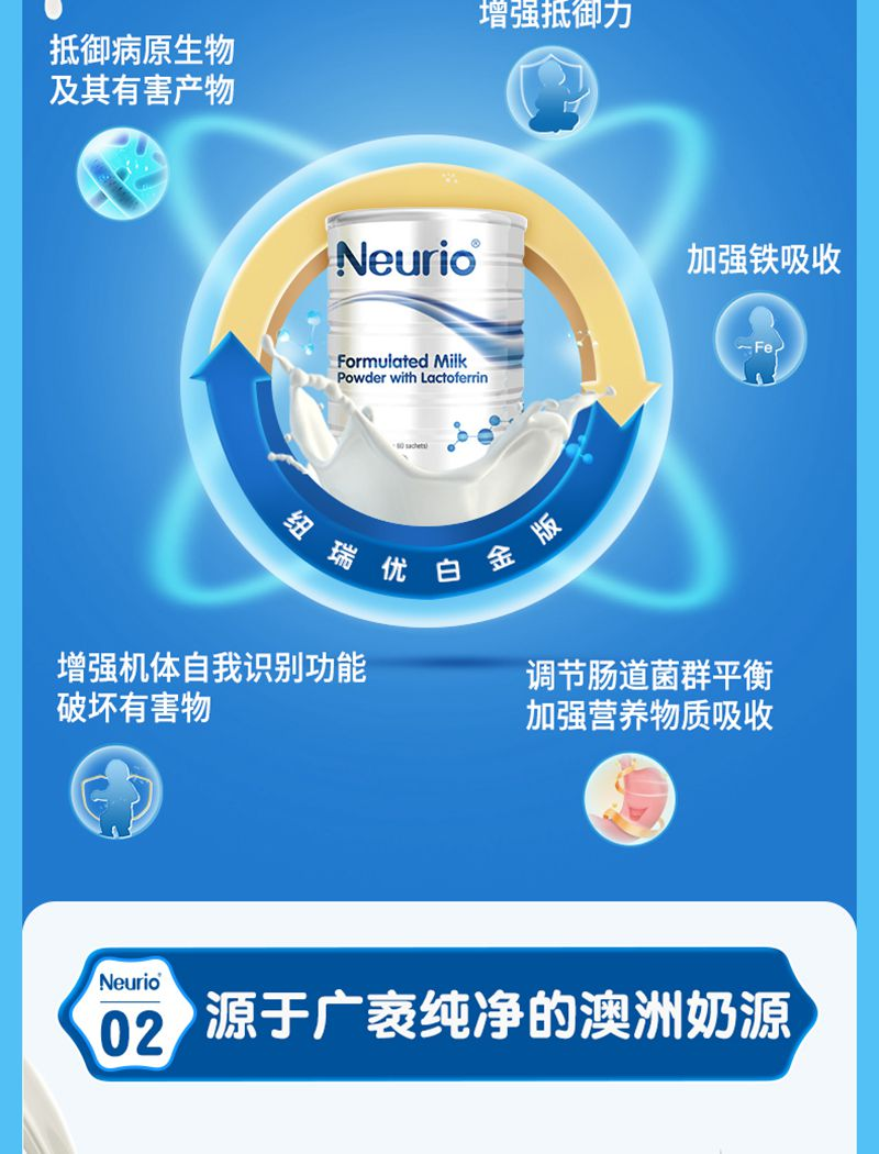 neurio纽瑞优澳洲乳铁蛋白提高免疫力婴幼儿调制乳粉白金版60g 功效