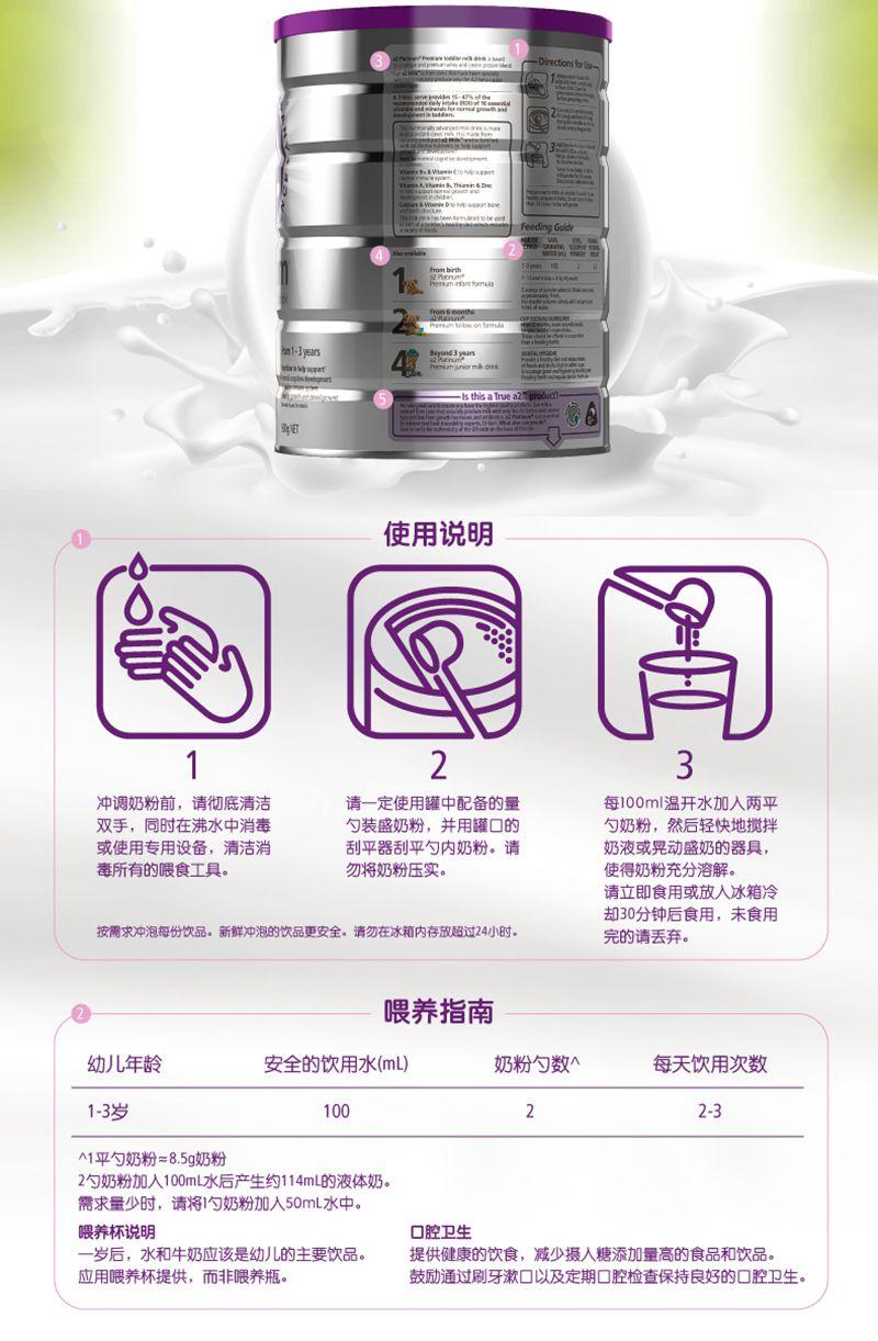 a2白金系列高端婴幼儿配方奶粉三段(新版)(3罐6罐价更优) 方法