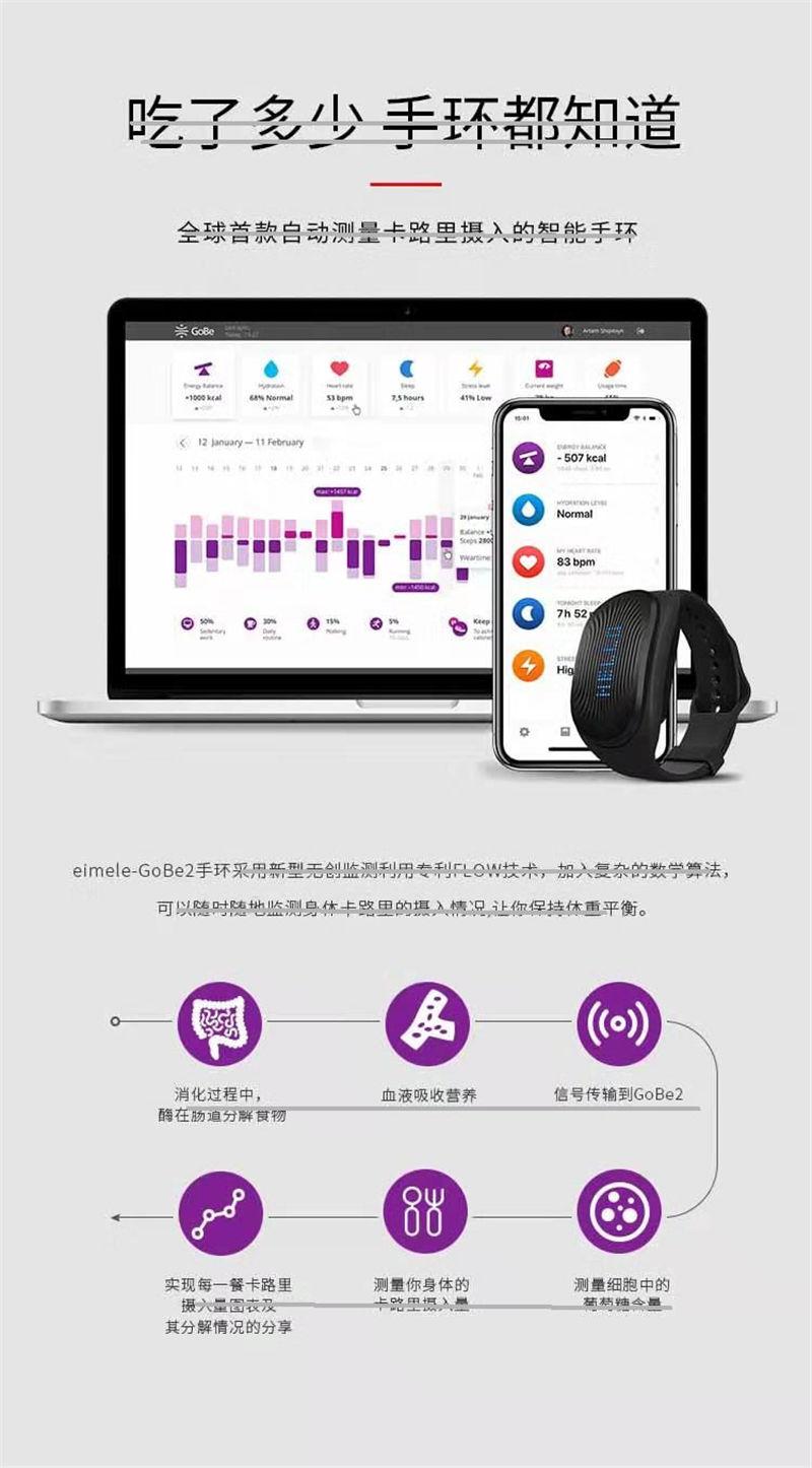 eimele亦餐-GoBe2智能手环自动监测卡路里 功能