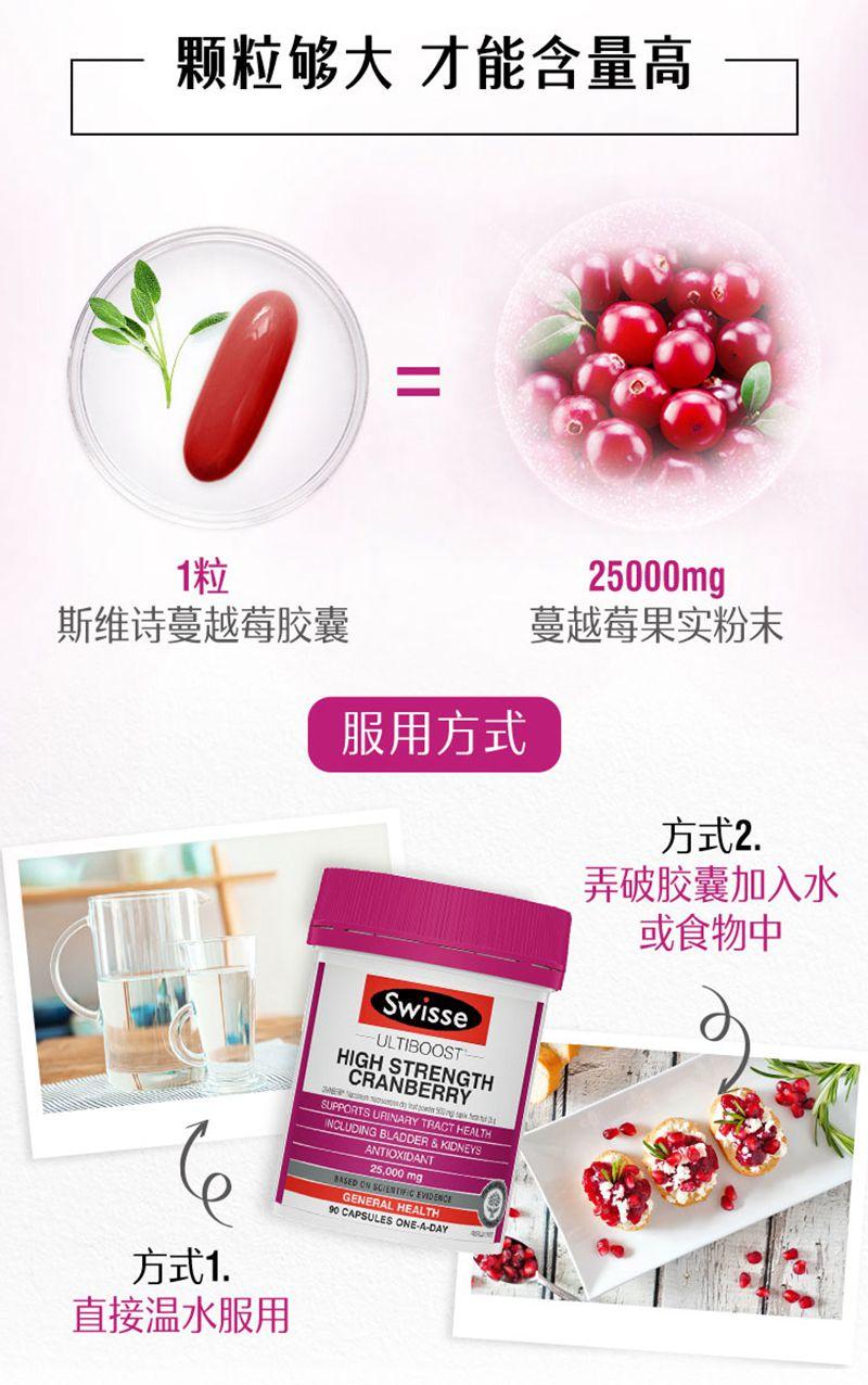 swisse蔓越莓胶囊90粒高浓度精华妇科炎症泌尿保养 信息